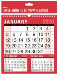 2020 3 Months To View Planner Calendar