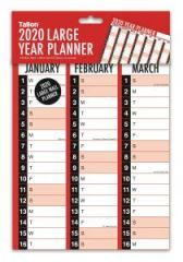 2020 Large Black & Red Wall Planner (Folded in A4 Postal Wallet)