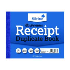 Silvine Carbonless Receipt Duplicate Book 102mm x 127mm