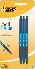 Bic 3 Blue Soft Feel Clic Grip Pens Hang Pack
