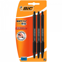 Bic 3 Black Soft Feel Clic Grip Pens Hang Pack
