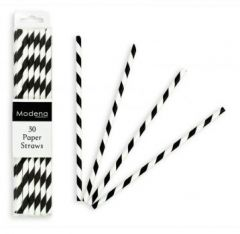 Paper Straws Black And White Pack of 30