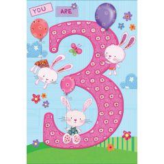 Birthday Card Age 3 Rabbits