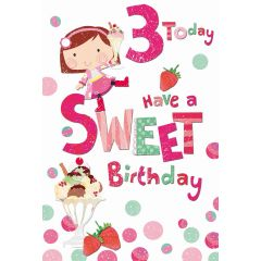 Birthday Card Age 3 Sweets
