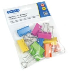 Rapesco 32mm Foldback Clips Pack of 10 Assorted Colours Hang Pack
