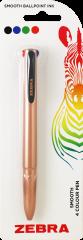 Zebra 4 Colour Rose Gold Pen Hang Pack