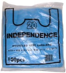 Blue Recycled Vest Carrier Bags Independence 275 x 425 x 515mm
