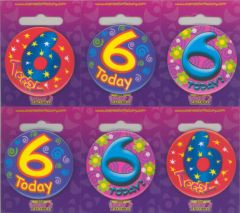 Age 6 Badge 55mm Assorted Designs