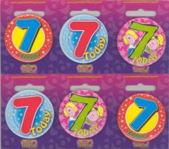Age 7 Badge 55mm Assorted Designs