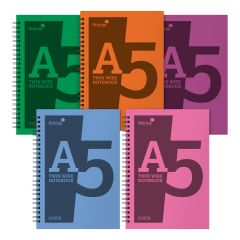 Silvine A5 Twin Wire Polypropylene Notebook 160 Lined Pages 5 Assorted