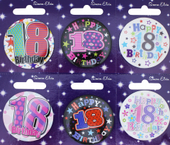 Age 18 Badge 55mm Assorted Designs