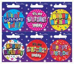 Happy Birthday Badge 55mm Assorted Designs