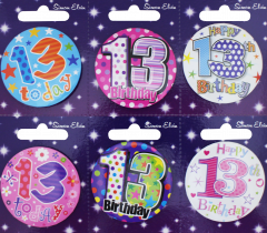 Age 13 Badge 55mm Assorted Designs