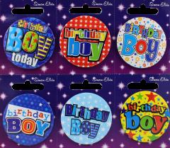 Birthday Boy Badge 55mm Assorted Designs