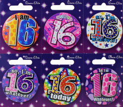 Age 16 Badge 55mm Assorted Designs