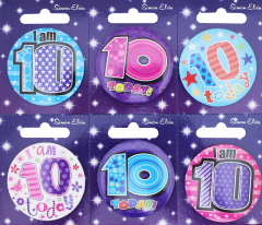 Age 10 Badge 55mm Assorted Designs