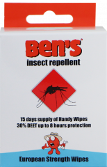 Ben's Insect Repellent Wipes 15's