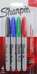 Sharpie 4 Fine Markers Assorted Colours Hang Pack