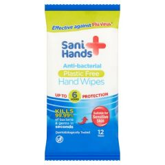 Sani Hands Anti-Bacterial Plastic Free Hand Wipes 12's