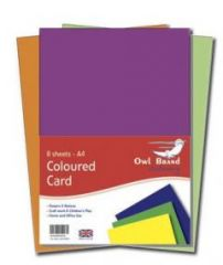 Owl Brand A4 Coloured Card 8 Sheets Hang Pack