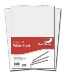 Owl Brand A4 White Card 8 Sheets Hang Pack