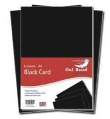 Owl Brand A4 Black Card 6 Sheets Hang Pack