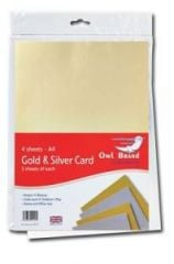 Owl Brand A4 Gold & Silver Card 4 Sheets Hang Pack