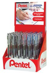 Pentel Superb Ballpoint Pen 15 Black 15 Blue & 6 Red CDU