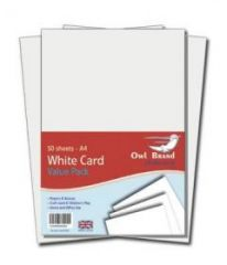 Owl Brand A4 White Card Value Pack 50 Sheets Hang Pack