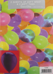 Packed Wrap 2 Sheets & 2 Tags - Balloons