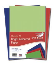Owl Brand A4 Bright Coloured Paper 80gsm 50 Sheets Hang Pack