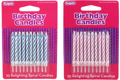 10 Relighting Cake Candles Hang Pack 2 Assorted Colours