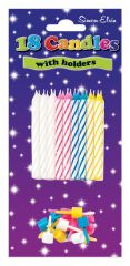 Spiral Cake Candles & Holders 18's Assorted Colours