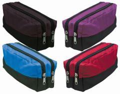 Double Zip Rectangular Pencil Case Assorted Colours