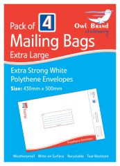 Owl Brand 4 Mailing Bags Extra Large 430 x 500mm
