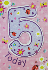 Birthday Girl Age 5 Card