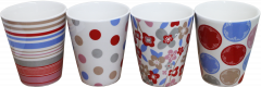 Conical Mugs with Spots & Stripes Assorted Designs 11oz