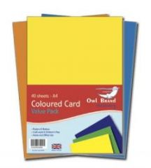 Owl Brand A4 Coloured Card Value Pack 40 Sheets