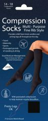 Compression Socks Fine Rib Black UK 8-11