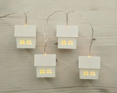 10 Wooden House Lights Battery Operated with Timer