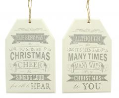 30cm Christmas Tag Sign 2 Assorted Designs