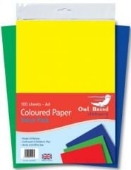 Owl Brand A4 Coloured Paper Value Pack 100 Sheets Hang Pack