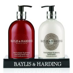 wholesale Baylis & Harding Black Pepper & Ginseng 500ml Hand Wash & 500ml Hand Lotion In Acrylic Stand
