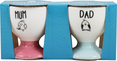 "Eggcellent Egg Cups Set ""Mum"" & ""Dad"""