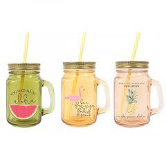 Tropical Island Drinking Jar