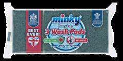 Minky Heavy Duty Sponge Scourers Anti-Bactrial Anti-Grease 3pk