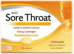 Mac Honey & Lemon Sore Throat Lozenges 16's