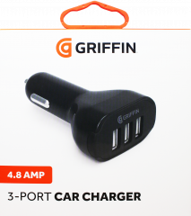 Griffin 3-Port 4.8A USB Car Charger - Black