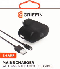 Griffin Single Port 2.4A Mains Charger Micro-USB Cable 1m - Black