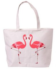 Cotton Bag with Zip - Flamingo